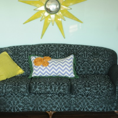 Reupholstered Sofa and a Chevron Pillow