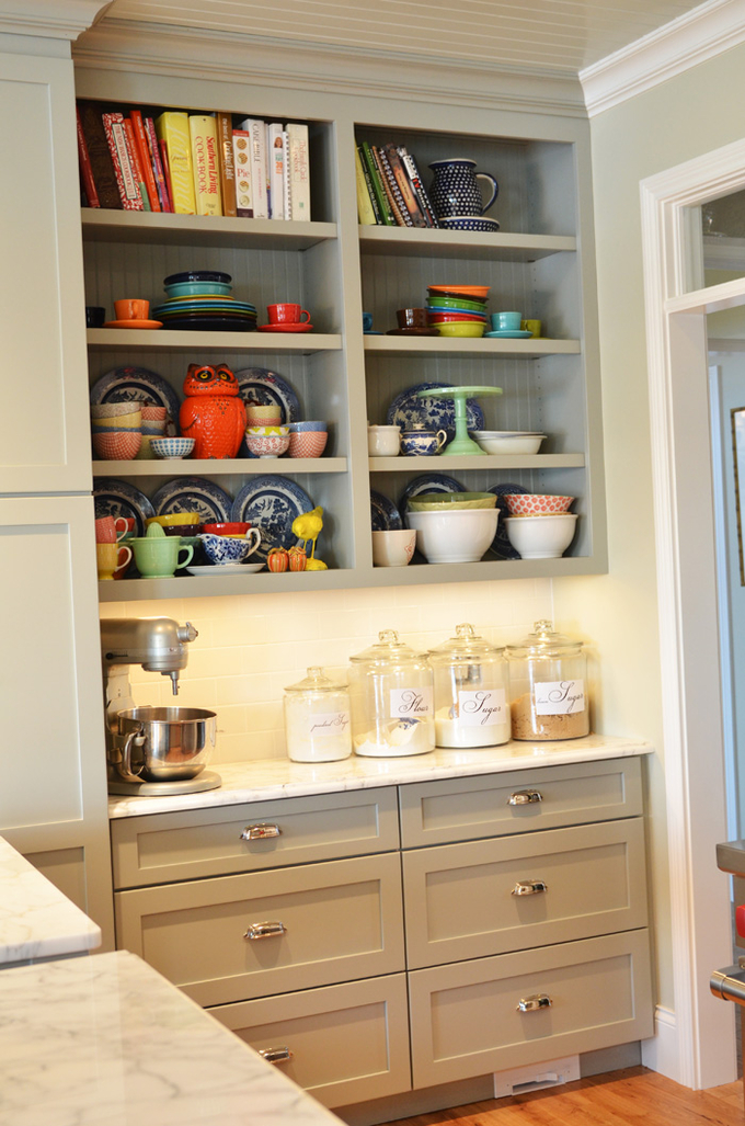 Welcoming Spirit Kitchen Inspiration Gray Cabinets Open Shelves And A Desk