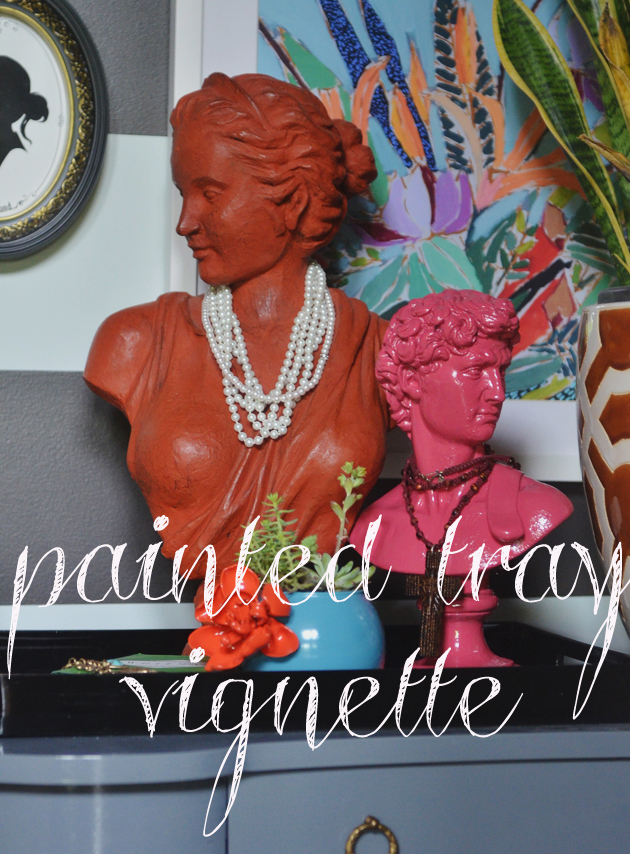 DIY painted tray vignette via lifeingrace