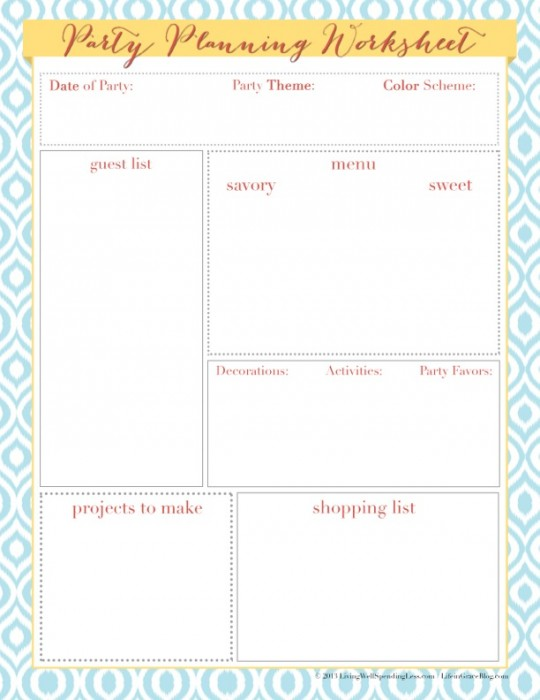 Worksheets Party Planning Worksheet birthday party planning worksheet pixelpaperskin worksheet