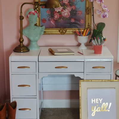 DIY White Lacquer Desk {and Tween Room progress}