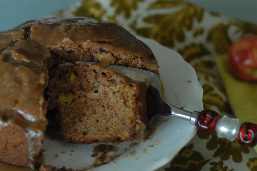 apple cake with caramel glaze