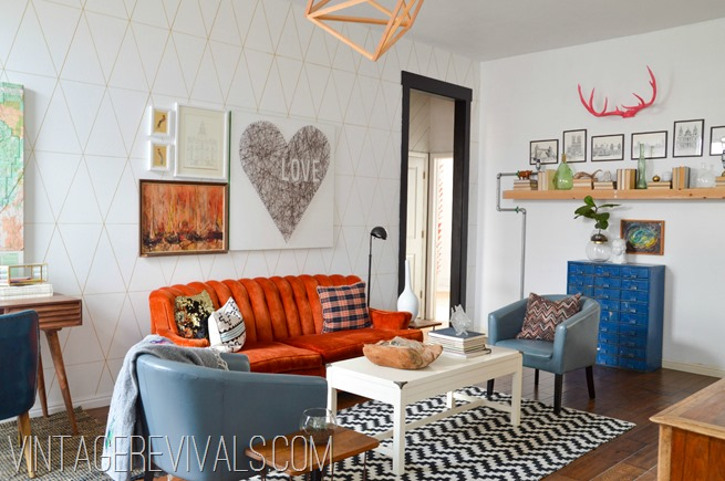 Orange Tufted Couch Living Room Makeover @ Vintage Revivals[2]